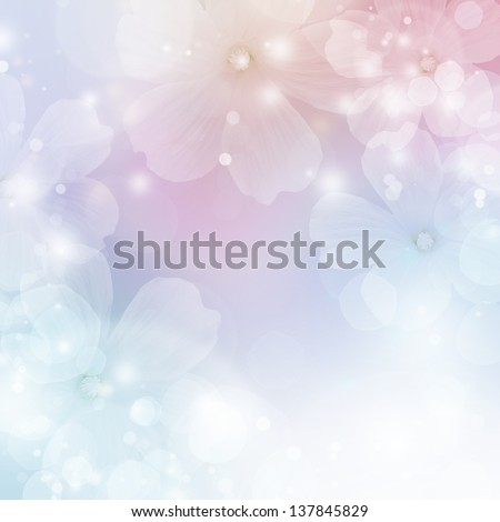 Abstract floral border of  white flowers. Spring blossom background - stock photo