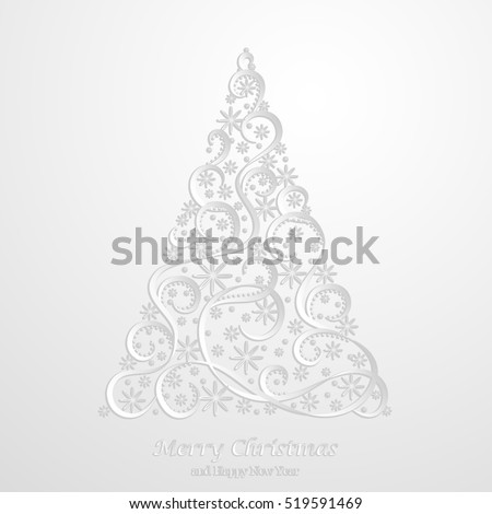 Abstract Floral Christmas Tree Background, Trendy Design Template