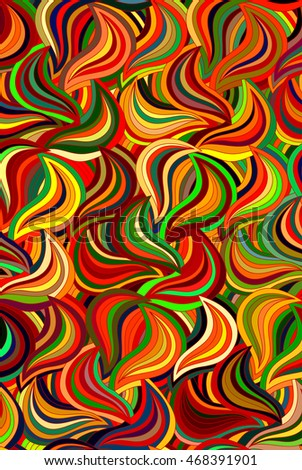 Abstract floral colorful background of hand drawn lines