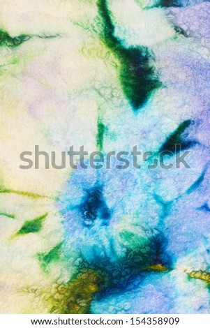 abstract floral decor of cold painted batik on tulle
