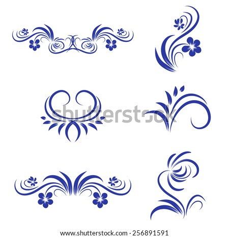 Abstract Floral Decorative Element Collection Over White - stock photo