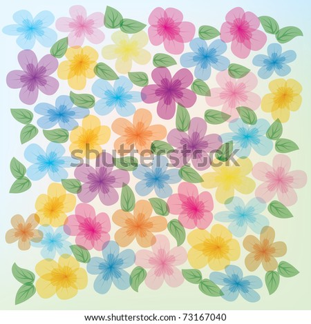 abstract floral illustration color flowers on blue background