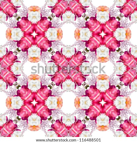 Abstract floral kaleidoscope seamless pattern - stock photo