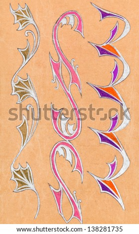 abstract floral ornament on wrapping paper drawn by gel pen