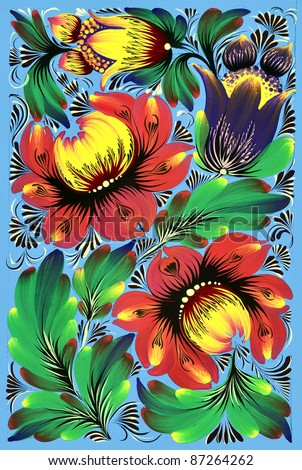abstract floral ornament with bright flowers and leaves - stock photo