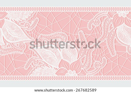 Abstract floral seamless lace ribbon. Template frame design for card. Rasterized version. - stock photo
