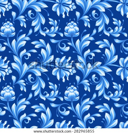 abstract floral seamless pattern, background with folk art flowers, blue white gzhel ornament - stock photo