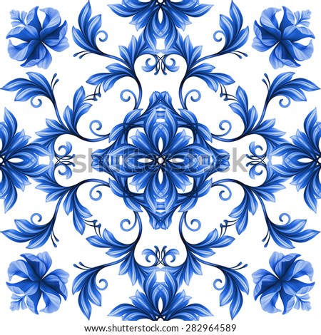 abstract floral seamless pattern, blue white gzhel ornament - stock photo