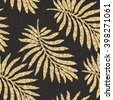 Abstract floral seamless pattern. Golden exotic foliage silhouette on a dark black background. Tropical palm leaves.Dappled dark background. Ethnic,folk, wallpaper, bohemian textile print, batik paint - stock vector