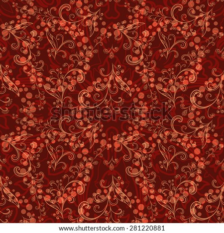 Abstract Floral Seamless Pattern, Symbolical Outline Flowers and Curves - stock photo