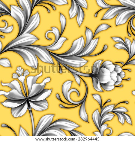 abstract floral seamless pattern, wedding lace background with flowers, delicate vintage ornament - stock photo