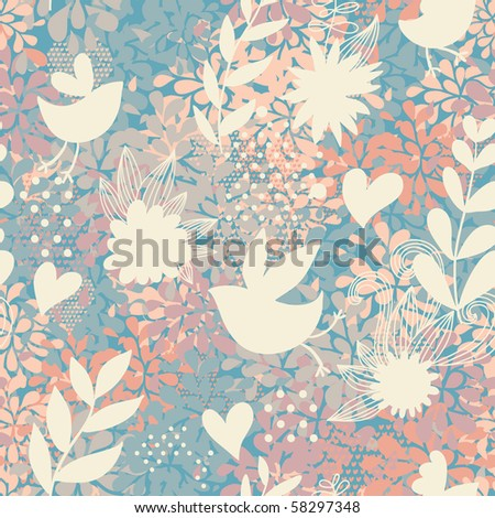 Abstract floral seamless pattern with birds and hearts in pastel colors - stock photo