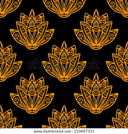Abstract floral seamless pattern with lotus flowers in black and gold. Water lily. Hand drawing illustration. Endless print texture.  Retro. Vintage style - raster version - stock photo