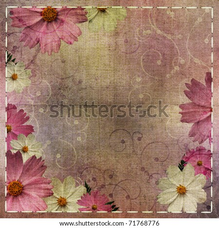Abstract floral textured  background with daisy flower - stock photo