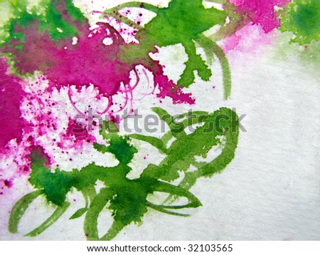 Abstract Floral Watercolor Background - stock photo