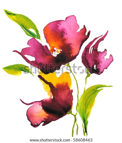 Abstract floral watercolor design with stylized violet flowers on white. Art is created and painted by photographer - stock photo