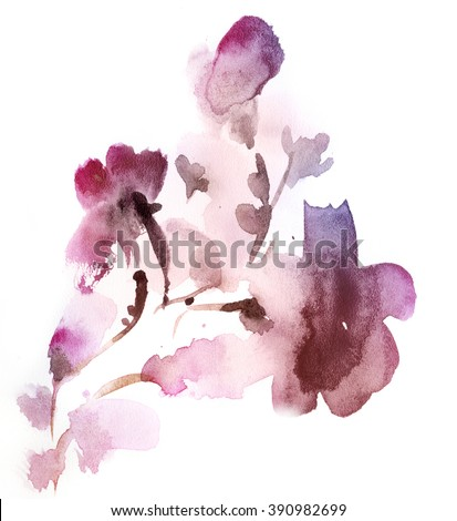 Abstract floral watercolor paintings. lilac and pink Tint Watercolour Texture Gradient. Pastel Colored Palette. - stock photo