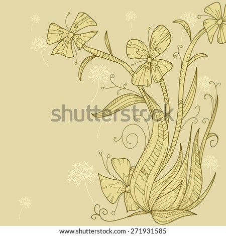 Abstract flower background hand draw illustration. - stock photo