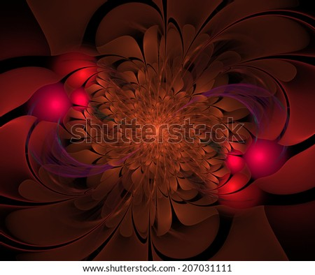 Abstract flower bloom in orange and pink colors - stock photo