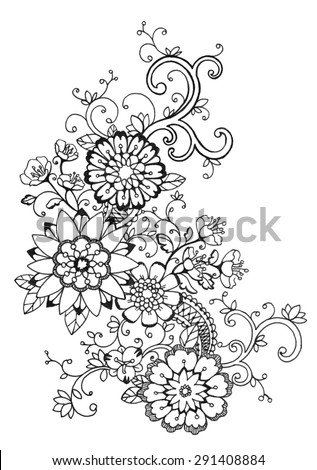 Abstract flower blooms ornate filigree curls stock illustration abstract flower blooms and ornate filigree curls in a graceful black floral lace design on a mightylinksfo