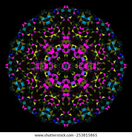 Abstract Flower. Creative Colorful style wheel. Cyan Magenta Yellow Black Dominant Color - stock photo