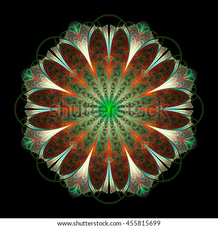 Abstract flower mandala on black background. Symmetrical pattern in red, green, white and blue colors. Fantasy fractal design for postcards, wallpapers or clothes. 3D rendering. - stock photo