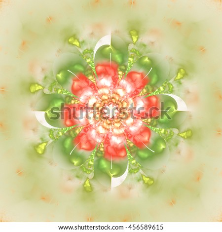 Abstract flower mandala on blurred background. Symmetrical pattern in light red, green and beige colors. Fantasy fractal design for postcards, wallpapers or clothes. 3D rendering. - stock photo