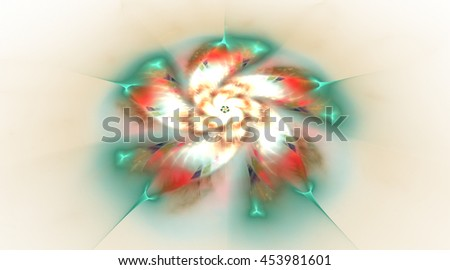 Abstract flower on blurred background. Fantasy fractal design in white, red, beige and green colors. 3D rendering. - stock photo