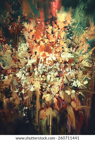 abstract flower painting,mixed media illustration - stock photo