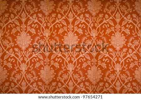 abstract flower pattern background in traditional Thai style art on wall - stock photo