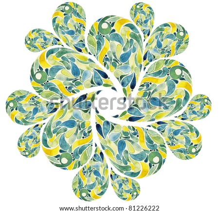 Abstract flower twist watercolors - stock photo