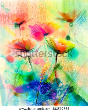 Abstract flower watercolor painting. Hand paint White, Yellow, Pink and Red color of daisy- gerbera flowers in soft color on light yellow and green blue color background.Spring flower seasonal nature
