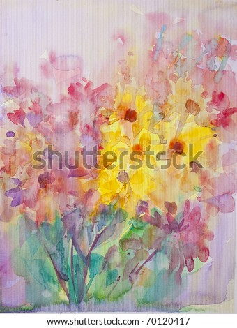 Abstract flower with Water Color - stock photo
