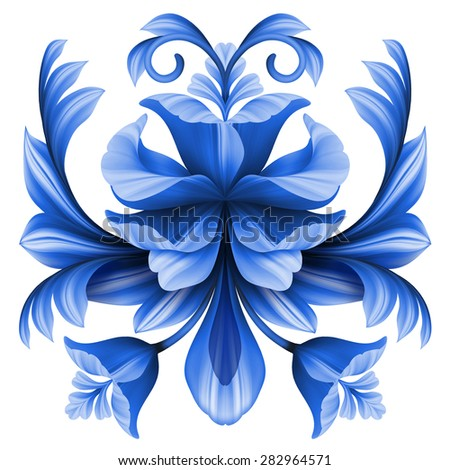 abstract flowers illustration, floral design element, blue gzhel ornament isolated on white - stock photo