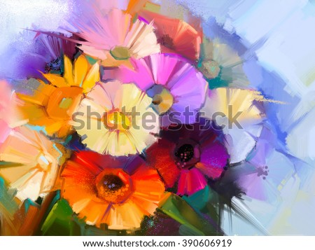 Abstract flowers oil painting. Hand paint still life of Yellow, Pink and Red color daisy- gerbera floral in soft color on green blue color background. Spring flowers in vase - stock photo