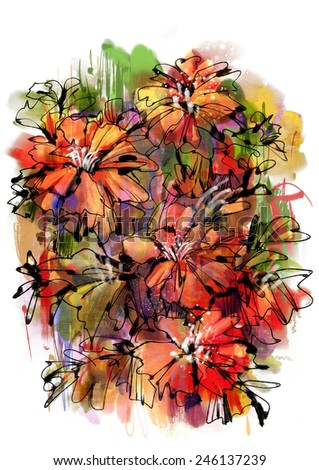 abstract flowers on white background.digital painting - stock photo