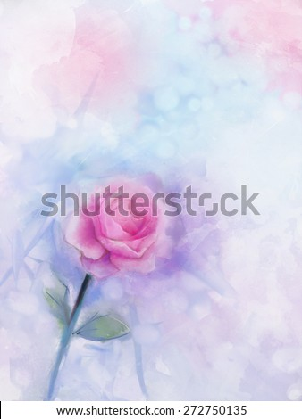 Abstract flowers painting. Pink rose floral in pastel color with light pink and light blue ,blurred style background. Vintage soft watercolor painting flowers on grunge paper - stock photo