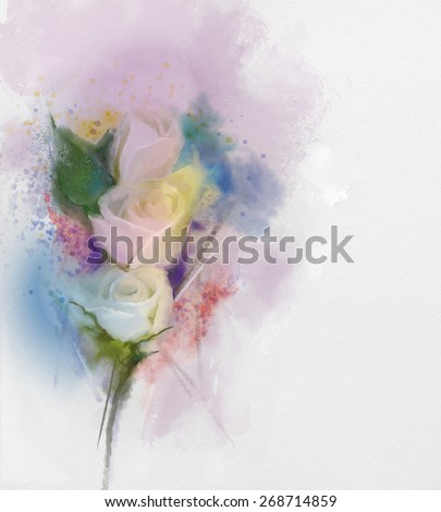 abstract flowers painting. White roses floral in pastel color with light pink and yellow and blurred style background. Vintage soft watercolor painting flowers on grunge paper   - stock photo