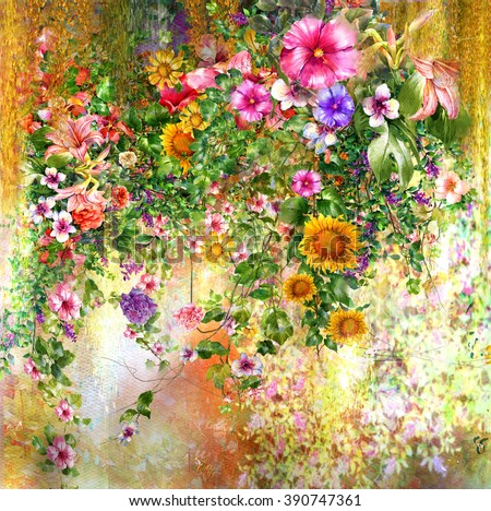 Abstract flowers watercolor painting. Spring multicolored flowers  - stock photo
