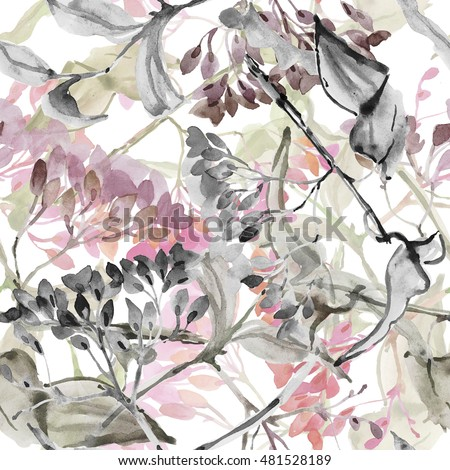 Abstract flowers. Watercolor seamless pattern.