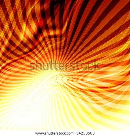 Abstract flowing fire background with rays in it - stock photo