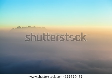 Abstract fog and mounting view - stock photo