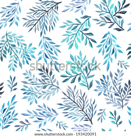 Abstract foliate watercolor paintings - stock photo