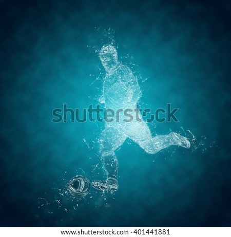 Abstract football (soccer) player kicks the ball. Crystal ice effect - stock photo