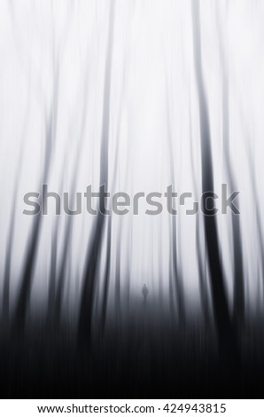 abstract forest motion blur - stock photo