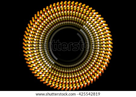 abstract form and black background, particle circle