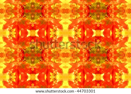 Abstract fractal background: autumnal maple leaves - stock photo