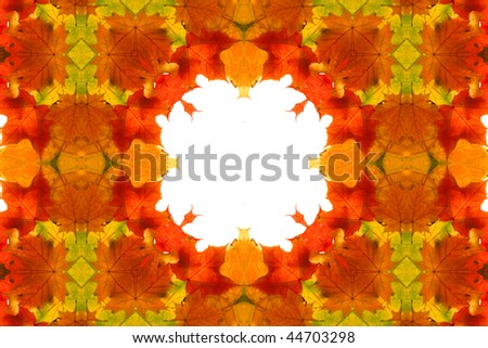 Abstract fractal background: autumnal maple leaves frame - stock photo