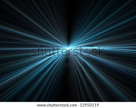 Abstract fractal background. Computer generated graphics. Incredible speed - blue motion light rays.