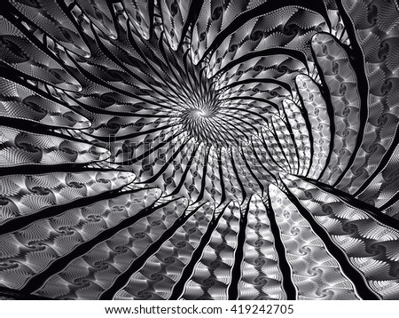 Abstract fractal background - computer-generated image. Fractal art - unusual spiral tunnel. Trendy fractal for prints, covers, web-design - stock photo